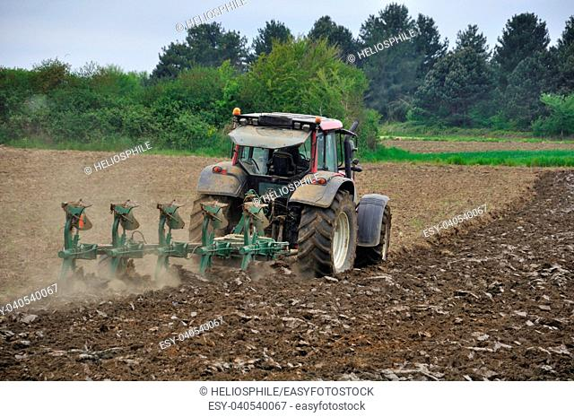 Tractor plowing in Brittany
