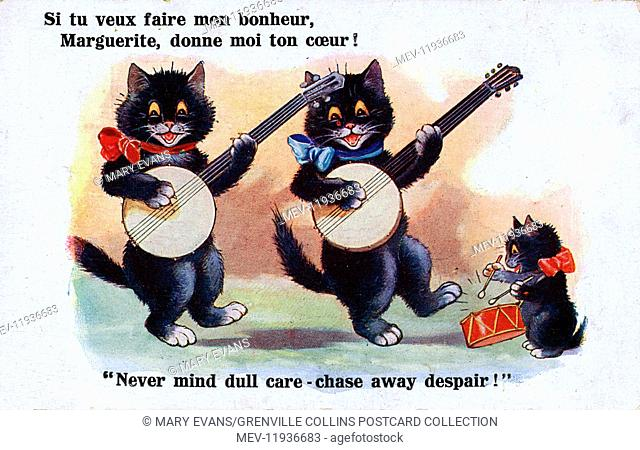If you want to make me happy, Marguerite, give me your heart! Never mind dull care - chase away despair! - Two banjo-playing black cats and one little black...