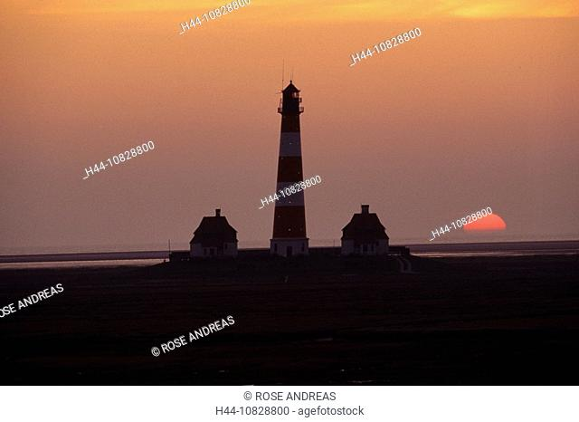 Germany, Europe, national park, Wattenmmeer, North Sea, Westerhever, Westerheversand, lighthouse, mood, dusk, twilight