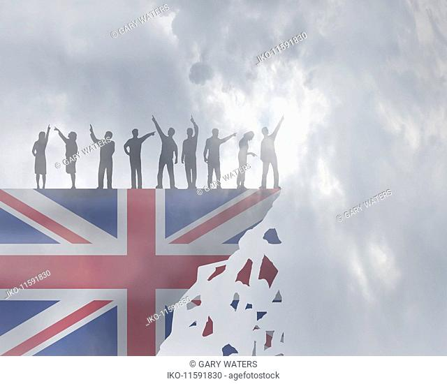 People pointing in different directions as Union Jack crumbles beneath feet