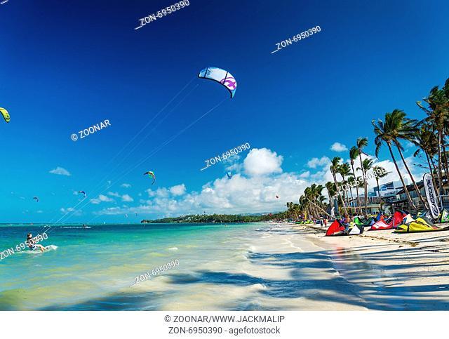 kite surfing on bolabog beach in boracay philippines