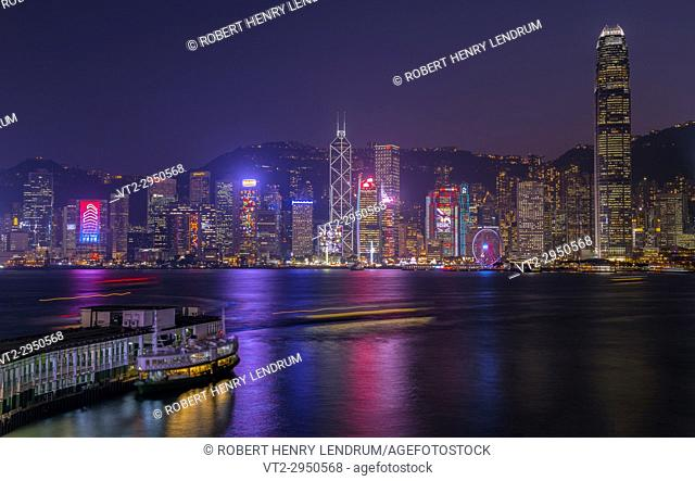 Hong Kong city skyline, Victoria harbor, Hong Kong, China