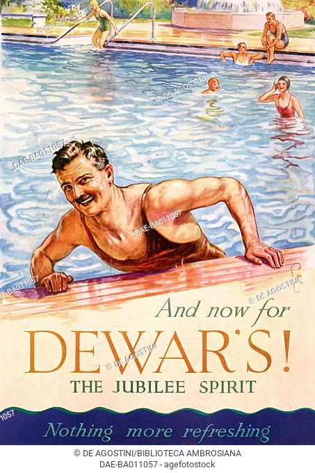 Dewar's, man in a swimming pool, advertisement, drawing from The Illustrated London News, July 27, 1935