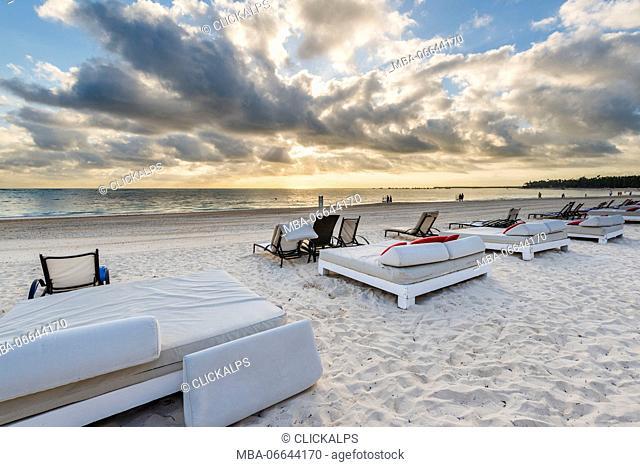 Bavaro Beach, Bavaro, Higuey, Punta Cana, Dominican Republic. Beach beds