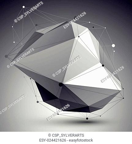 Abstract 3D structure polygonal vector network pattern, grayscale art deformed figure placed over contrast background