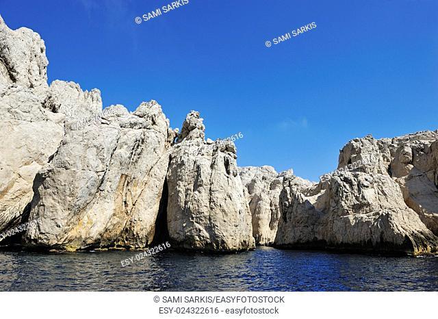 Calanque des Contrebandiers cliffs, Riou island, Marseille, France, Europe