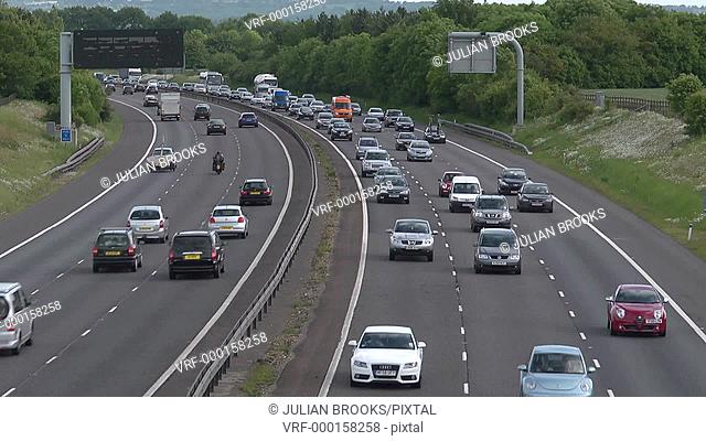 busy motorway time lapse traffic from overhead