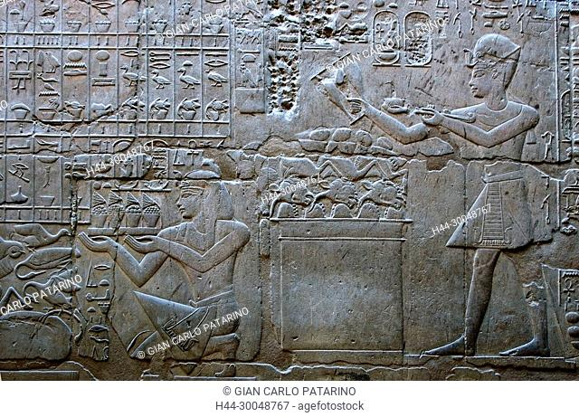 Luxor, Egypt. Temple of Luxor (Ipet resyt): the pharaoh Amenhotep III offering to gods