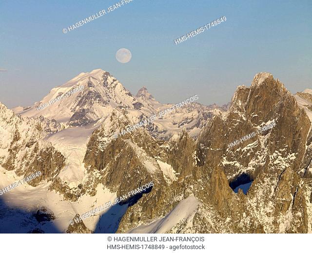 France, Haute Savoie, Chamonix Mont Blanc, Aguille de Leschaux (3759m) and the Grand Combin (4314m)
