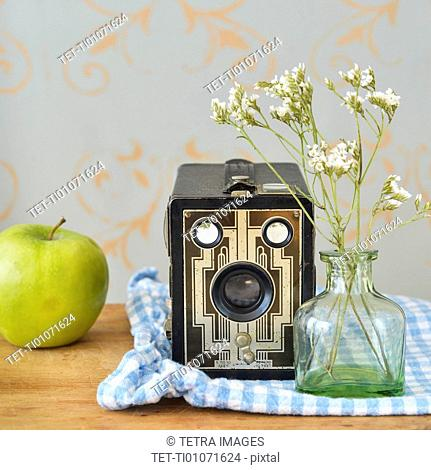 Studio shot of vintage camera, apple and flowers