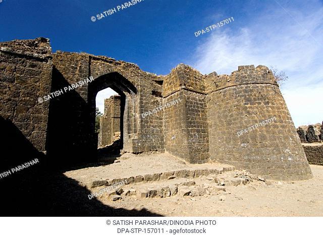 Great main gate and bastion of Gavilgad fort at Chikhaldara ; district Amravati ; Maharashtra ; India