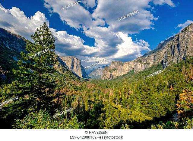 Yosemite National Park Valley summer landscape from Tunnel View. California, USA