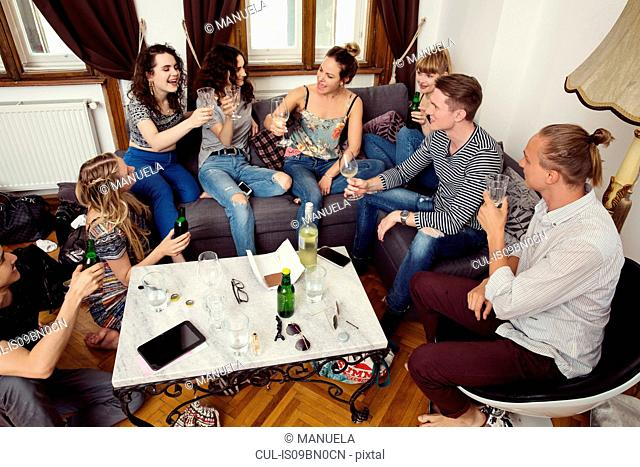 Group of male and female adult friends sitting on sofa making a toast