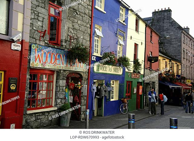 Republic of Ireland, County Galway, Galway, 1580 shop fronts in Quay Street, Galway