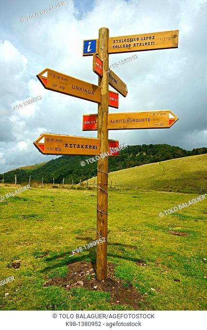 Info panel, Atalozti hill, Grand tour 11, Navarra Pyrenees Mountains Spain