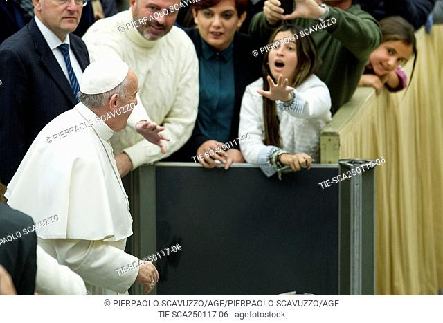 Pope Francis during General Audience, Paul VI Hall, Vatican, ITALY-25-01-2017   Journalistic use only