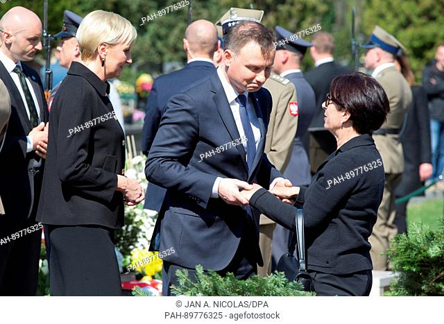 On 10.04.2017, the 7. anniversary of the Smolensk air crash, Polands President Andrzej Duda and his wife greet family members of the victims of the Smolensk...