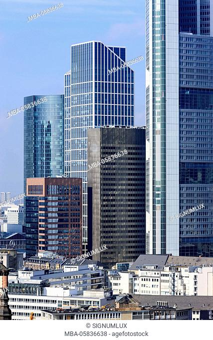 Europe, Germany, Hessia, Frankfurt, financial district, skyline with the high rises Skyper, Taunus tower, K26 and Commerzbank