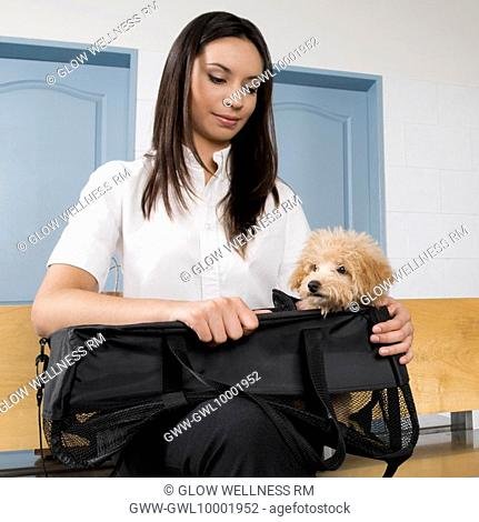 Woman carrying a puppy in a bag