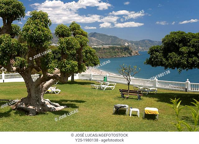 Burriana beach from the Parador de Turismo, Nerja, Malaga-province, Andalusia, Spain, Europe