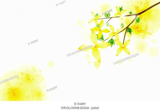 Illustration of abstract flowers on tree twigs