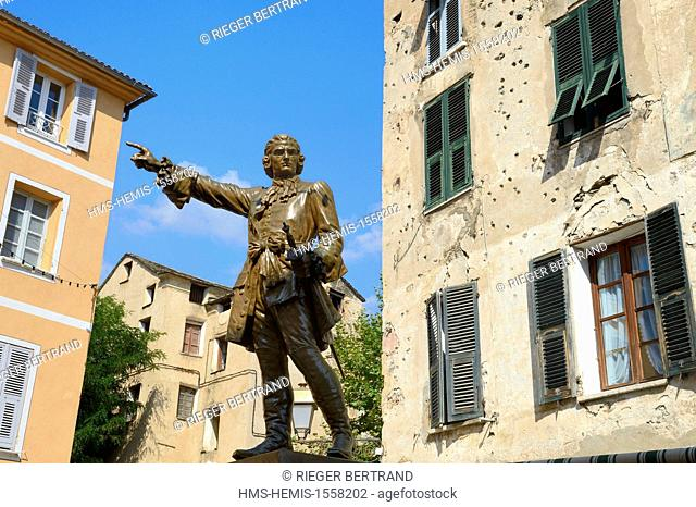 France, Haute Corse, Corte, the statue of a hero of the corsican revolution general Gaffori in front of his birthplace still riddled with bullet holes from 1750