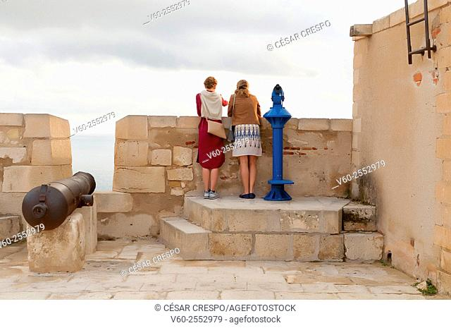 -Tourists in Santa Barbara Castle- Alicante Spain