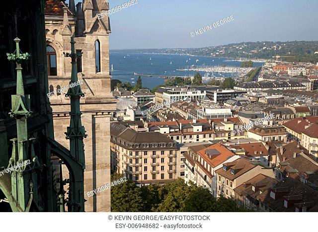 Cathedral Tower and view of Lake Geneva; Switzerland