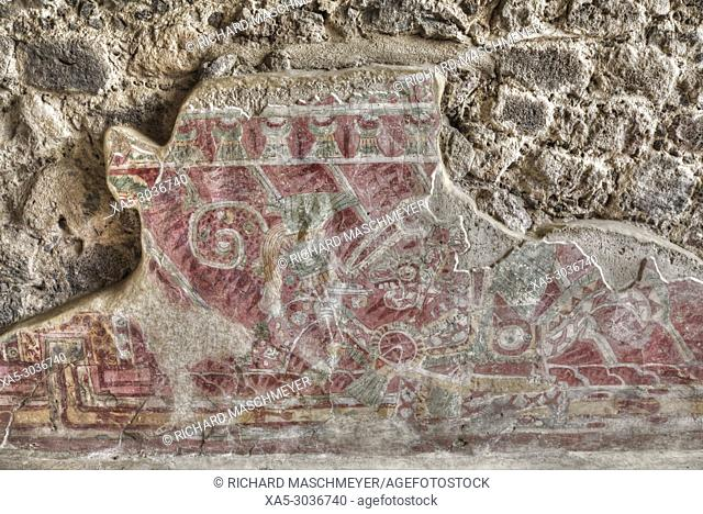 Wall Mural of Human Dressed Jaguar Coat, Palace of Tetitla, Teotihuacan Archaeological Zone, State of Mexico, Mexico