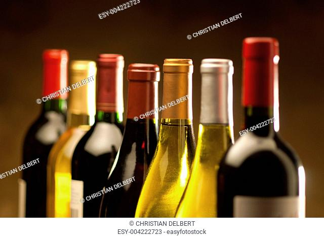 Wine bottles in a row