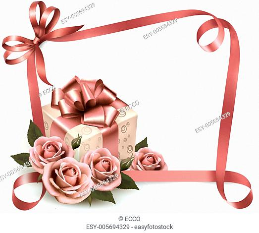 Retro holiday background with pink roses and gift box. Vector il
