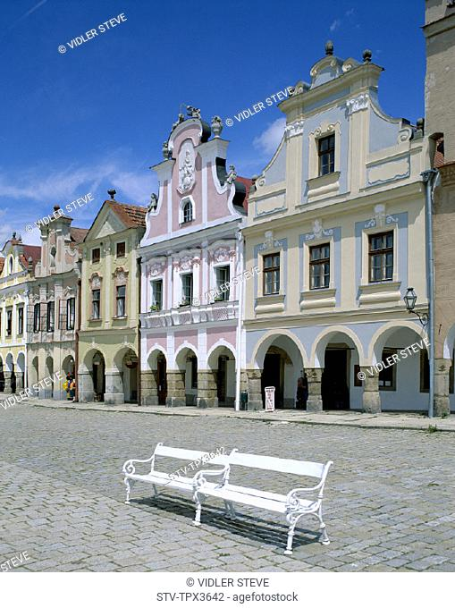 Architecture, Bohemian, Czech republic, Europe, Heritage, Holiday, Hradec, Landmark, Moravia, South, Square, Telc, Tourism, Trav