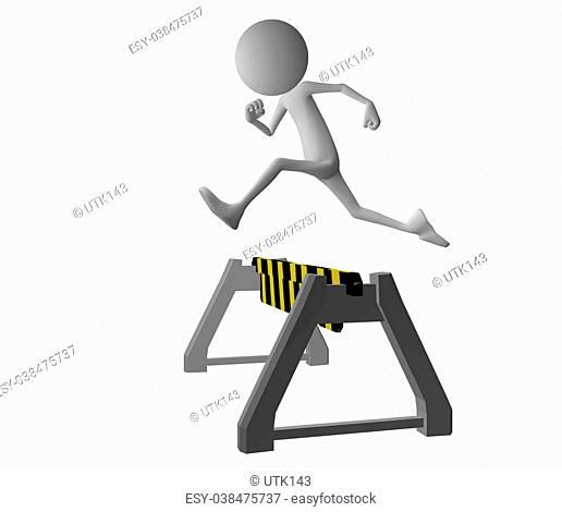 3d character jumping over a yellow black roadblock