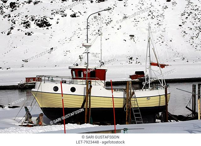 The Mageroya island in Lapland, Norway. Fishing boat