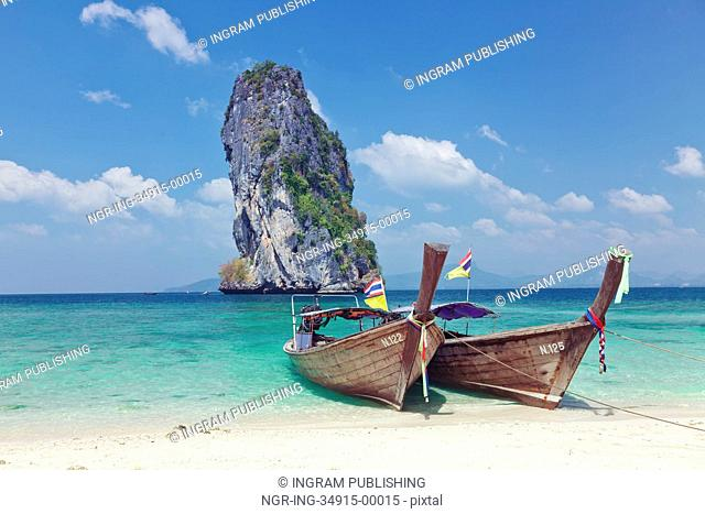 Fishing thai boat and landmark at Poda island, Krabi Province, Andaman Sea, South of Thailand