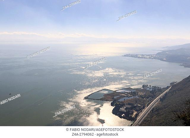 Aerial view DianChi Lake in Kunming, the capital of Yunnan province in Southern China, from XiShan Western Hill