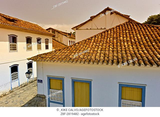 Typical colonial houses in the Historic Center District. Paraty. Once a month when there is a Full Moon and the tide is high