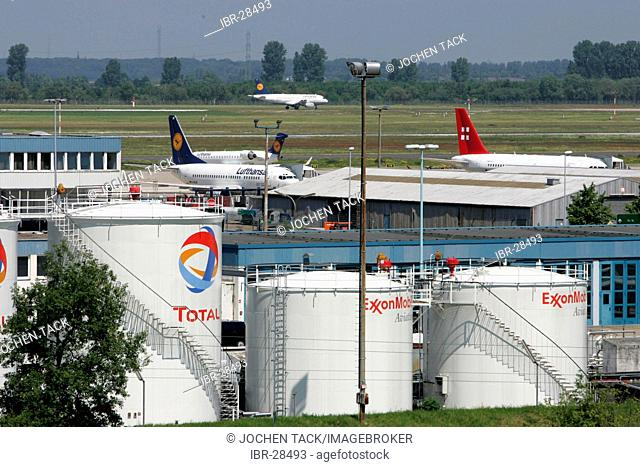 DEU, Germany, Duesseldorf: Fuel tanks at the Duesseldorf International Airport