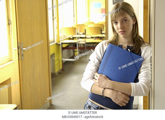 Classrooms, schoolgirl, schoolbag, holding, door, leans, Halbporträt,   Series, 12-14 years, teenagers, girls, long-haired, stand, gaze camera