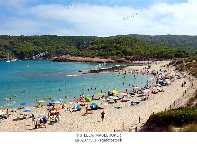 Beach, bay of Cala d'Algaiarens, northern Menorca, Balearic Islands, Spain, Southern Europe, Europe