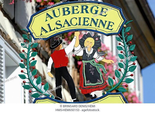 France, Haut Rhin, Colmar, labeled Most Beautiful Villages of France, teaches a restaurant, folk dances