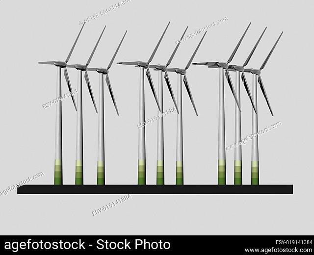 Windpark - Modell - 3D