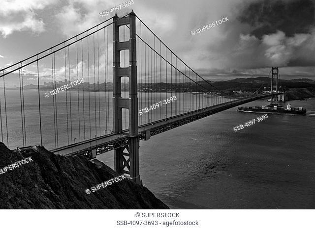 Bridge across the bay, Golden Gate Bridge, San Francisco Bay, San Francisco, California, USA
