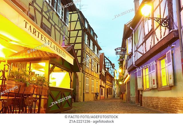 'Tartes Flambees' sign restaurant at Little Venice quarter. Colmar, Haut-Rhin, Alsace. France