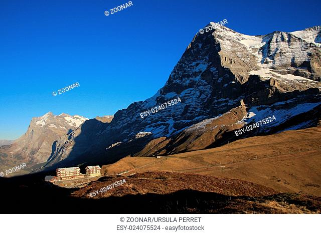 Mt Eiger, Eiger North Face and old hotels