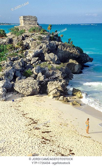 Woman tourist on Tulum beach  Mexico Yucatan, Mexico