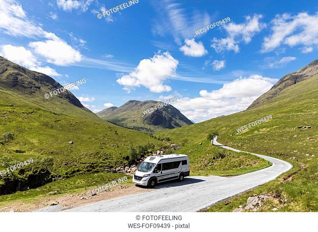 Great Britain, Scotland, Scottish Highlands, Glen Etive with River Etive and camper