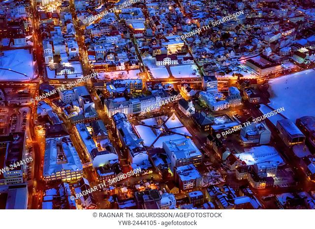 Aerial view of Reykjavik at Christmas time, Iceland