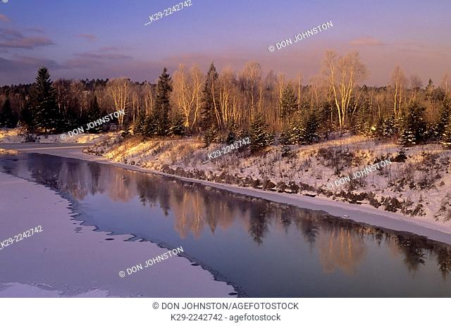 Junction Creek in early winter at dawn, Greater Sudbury, Ontario, Canada