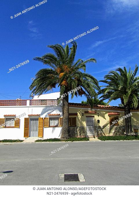 Houses in a little village . Delta del Ebre, Tarragona, Catalonia, Spain, Europe